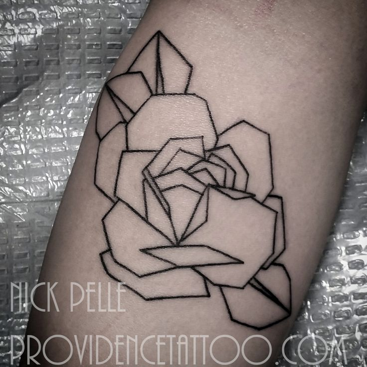 geometric rose tattoo by nick pelle at providence tattoo #nickpelle #providencetattoo #rose #geometric #tattoo #rosetattoo #geometrictattoo #tattooideas #simpletattoo