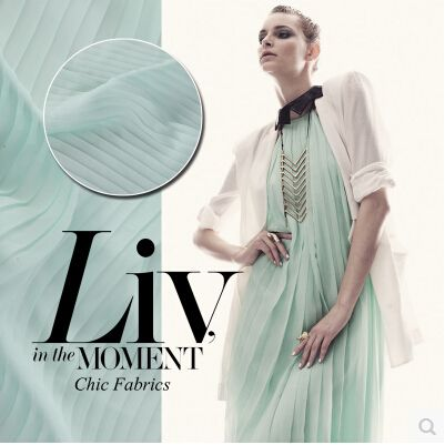 Midsummer memory summer all-match essential classic Pleated Chiffon fabric mint green