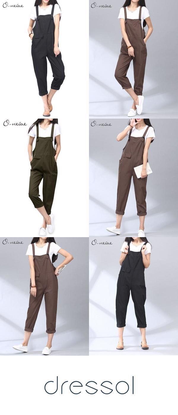 Women Spring O-NEWE Off The shoulder Casual Strap Pockets Rompers Jumpsuit Plus Size Jumpsuits & Rom 3