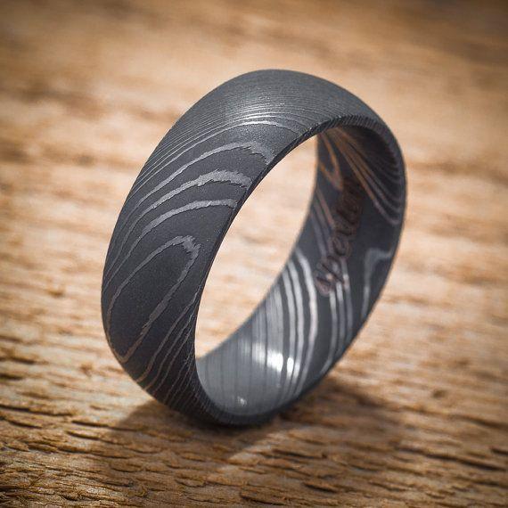 damascus stainless steel domed mens wedding band black acid finish - Damascus Wedding Ring