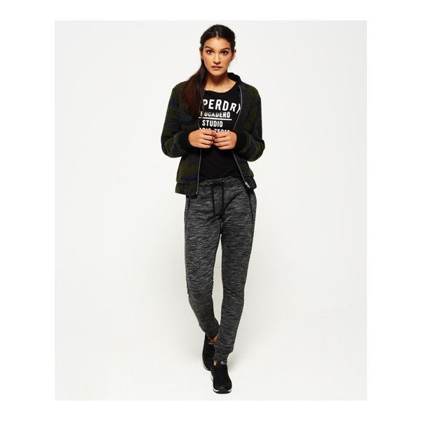 Superdry Fashion Lurex Joggers (£50) ❤ liked on Polyvore featuring activewear, activewear pants, grey, superdry and logo sportswear