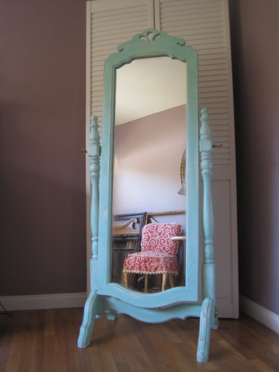 Country French Full Length Trestle Stand Tilt Mirror Up Cycled In Distressed Aqua Best Country