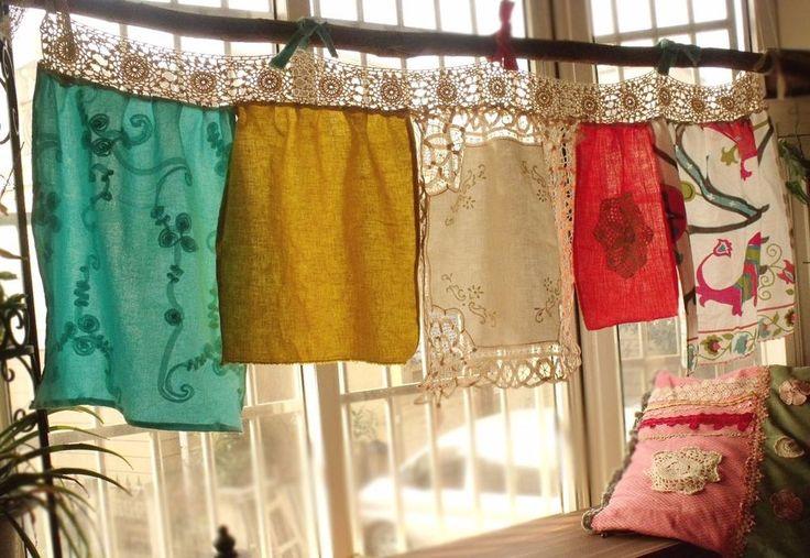 Boho Vintage CROCHET Lace Shabby Ruffle Chic Valance Gypsy Curtain