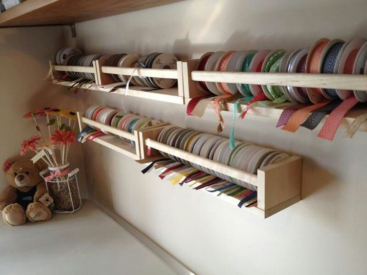 Ikea spice racks for ribbon storage