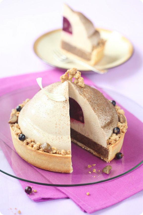 Verdade de sabor: Chestnut cake mousse with blackcurrant / Torta mousse de castanha portuguesa e groselha preta