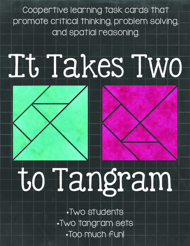 """""""It Takes Two to Tangram"""" Cooperative learning tangrams! Activities that get will your students thinking and communicating. Two students, two sets of tangrams, too much fun! $"""