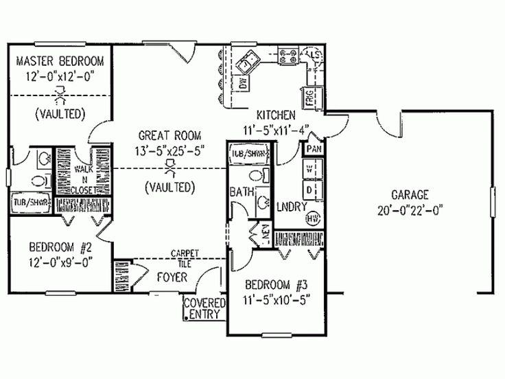3 bedroom ranch floor plans traditional style house plan 3 beds 2 baths 1200 sq ft plan 11 101 house plans ranch house 3454