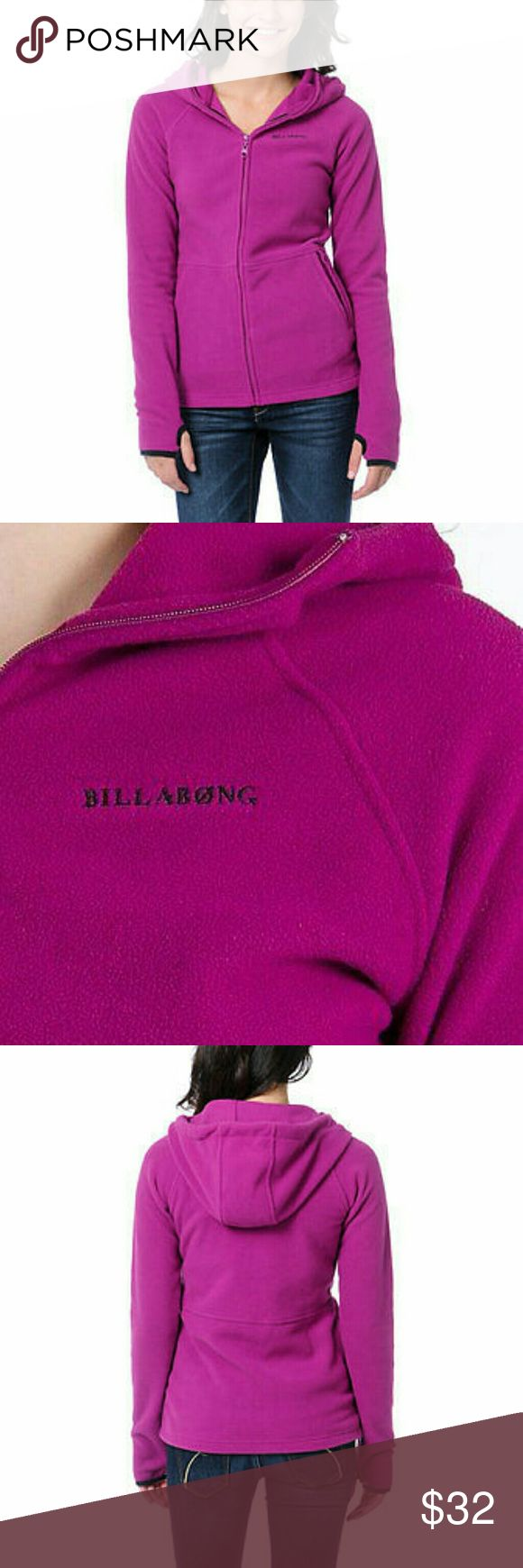 NWT Billabong zip up hoodie sweatshirt sweater Authentic Billabong Stef Hoodie  Size: Medium  Brand new with tags   Super toasty Billabong Girls fleece.  All berry pink colorway.  Full zip hooded jacket.  High structured collar to protect from chill.  Double stitched bonded seams.  Front hand pockets with phone pocket.  Thumb holes on cuffs.  Billabong logos at chest, hood, and hem.  100% polyester. Billabong Tops Sweatshirts & Hoodies