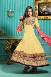 Floral Embroidered Pure Cotton Anarkali Suit