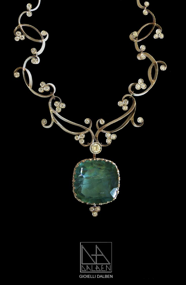 NECKLACE diamonds , aquamarine , white gold - GIOIELLI DALBEN - italian fine jewelry