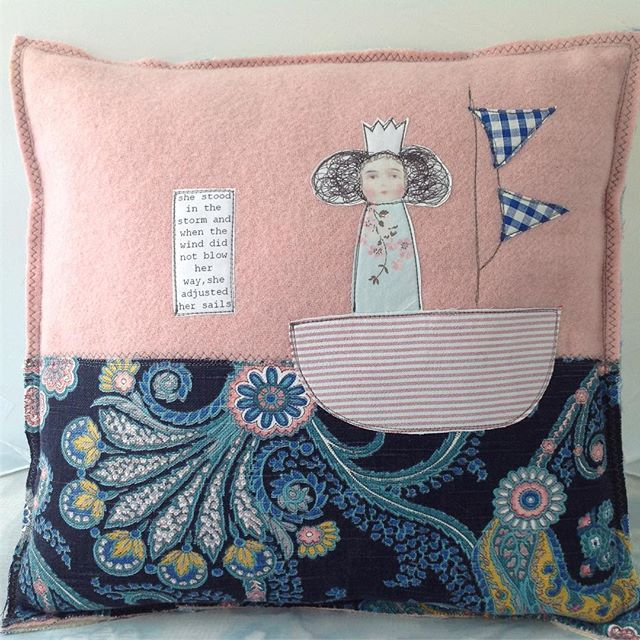 She stood in the storm and when the wind did not blow her way, she adjusted her sails #storybookcushions #theblackpixie #textileart #upcycledcraft