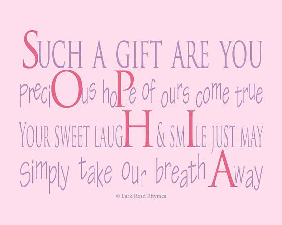 Girls Room Decor 8x10 print Baby Name Gifts by LarkRoadRhymes