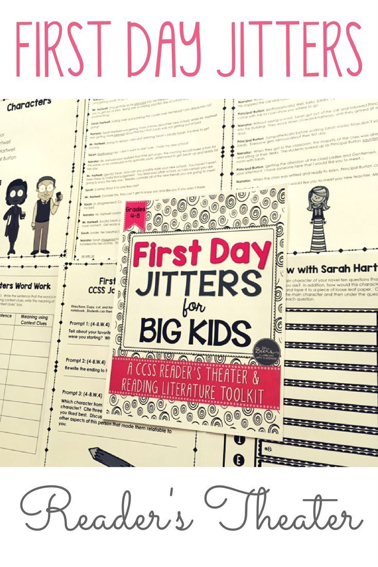 If you love the back to school book First Day Jitters by Julie Danneberg, your students will love performing the reader's theater script even more. Based on the events from the silly picture book, I have created a reader's theater and reading literature toolkit that BIG KIDS will love to perform in those first days of school.
