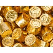 Different gold-wrapped candy, includes Lindt white chocolate truffles and Werther's. #CandyBar