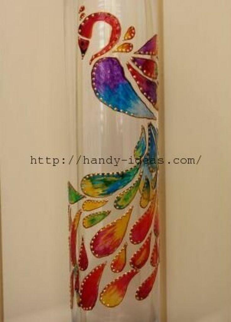 Роспись вазы витражными красками своими руками.