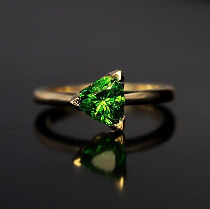 Rare Trillion Cut 1.21 Ct Russian Demantoid Garnet Ring - Antique Jewelry | Vintage Rings | Faberge Eggs #antiquejewelry