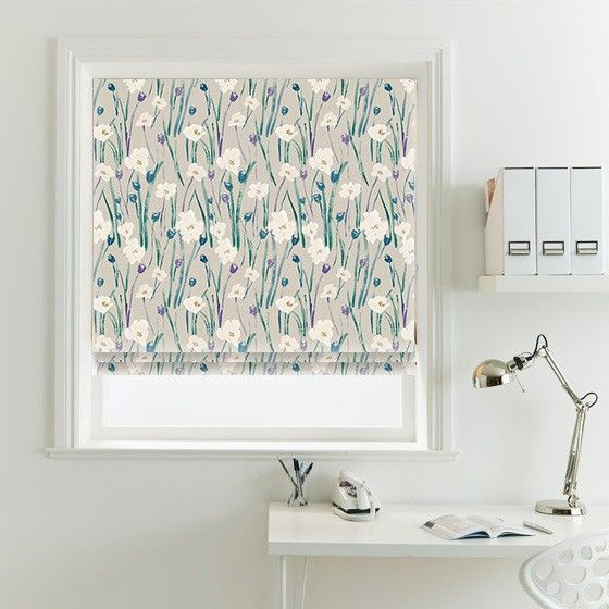 Wild Poppies Teal Roman Blind