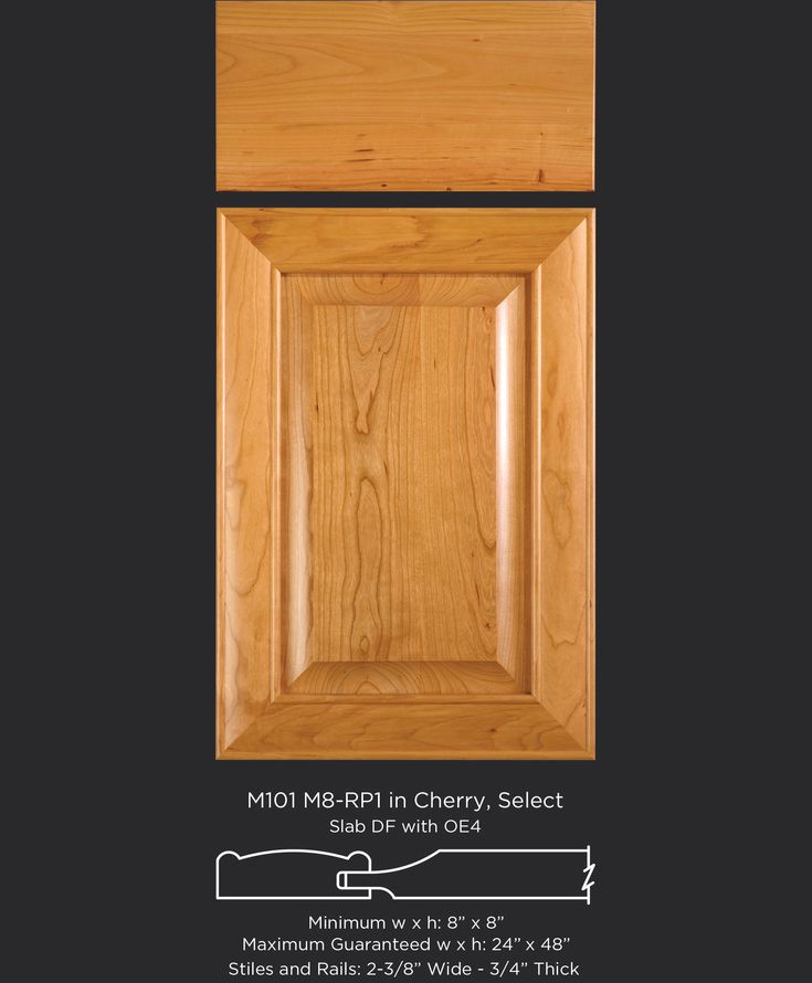 Cherry cabinet door with classic mitered frame and raised panel M101-M8-RP1  in
