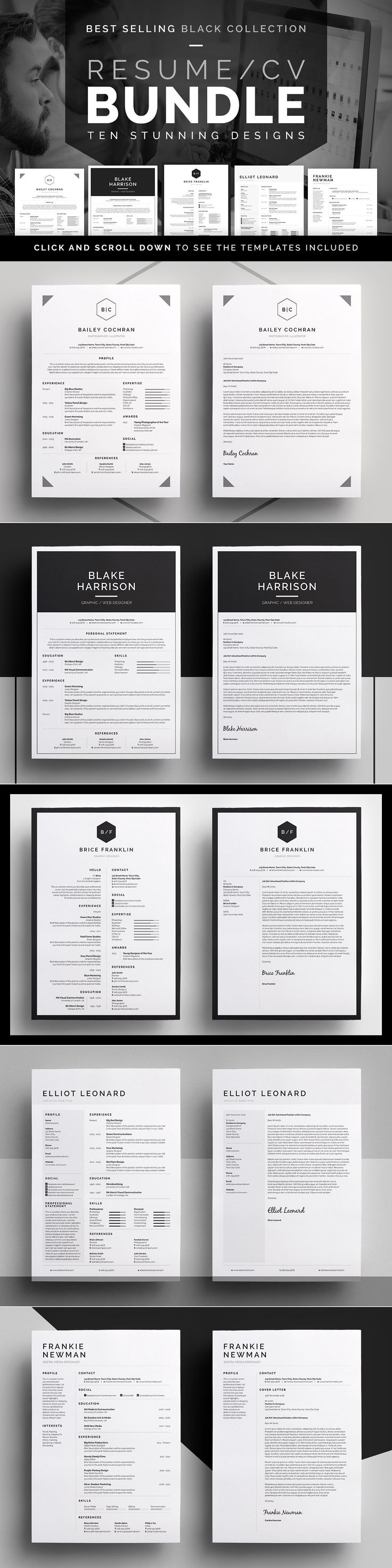 Resume/CV Bundle - Black Collection by bilmaw creative on @creativemarket
