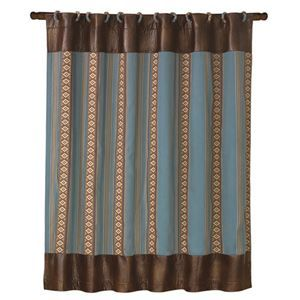 """Delectably Yours Ruidoso Southwestern Shower Curtain 72"""" x 72"""" with 12 fabric covered shower curtain rings by HiEnd Accents #DelectablyYours Western Southwestern Decor"""