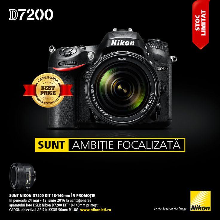SUNT NIKON D7200 KIT 18-140mm in promotie. In perioada 24 mai - 13 iunie 2016 la achizitionarea aparatului foto DSLR Nikon D7200 KIT 18-140mm primesti CADOU obiectivul AF-S NIKKOR 50mm f/1.8G