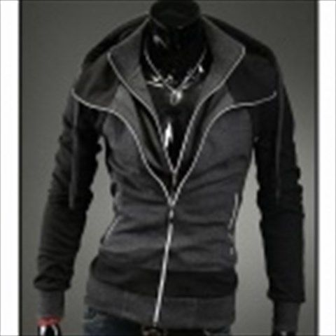 Men's Contrast Color Double Zipper Hooded Sweater - Black + Dark Grey (XXL) $37.65