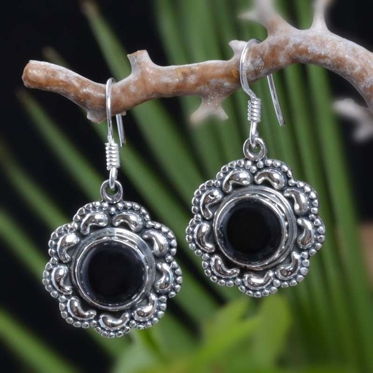 "EXCLUSIVE 925 STERLING SILVER BLACK ONYX FANCY EARRING 7.52g DJER3989 L-1.25""…"