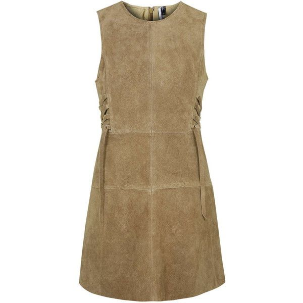 TOPSHOP PETITE Suede Tie-Side Dress featuring polyvore, fashion, clothing, dresses, petite, tan, retro-inspired dresses, topshop, brown suede dress, brown dress and retro dresses