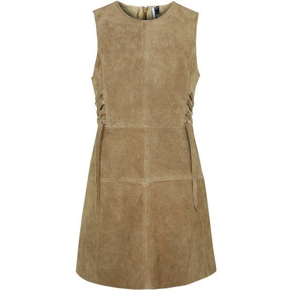 TOPSHOP PETITE Suede Tie-Side Dress featuring polyvore, fashion, clothing, dresses, petite, tan, retro-inspired dresses, topshop, brown suede dress, brown dress and retro dresses
