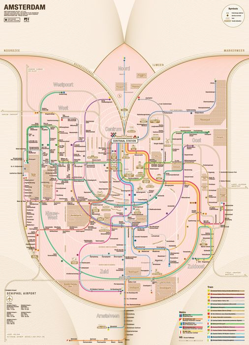 The Amsterdam Railway map redesigned in the shape of a tulip by Zero Per Zero.