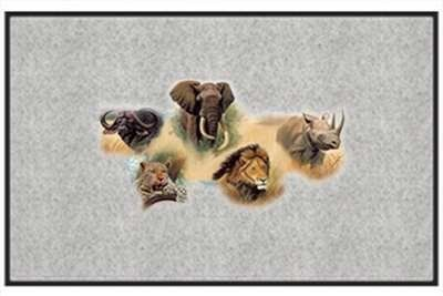 "The Big Five African Big Game - Wildlife - Gray - Door and Welcome Mat by Express Yourself Mats. $24.88. Made in USA. Personalization Available (choose above) - EMAIL TEXT TO SELLER AFTER CHECKOUT. Non-Skid Backing. Door Mat Size 27""x18"". Great Gift Idea!. Enjoy the The Big Five African Big Game design heat pressed on this light-weight, low pile, woven polyester door mat. This decorative welcome mat measures 27 x 18 inches, is 1/8 inch thick and features a non-skid latex ..."
