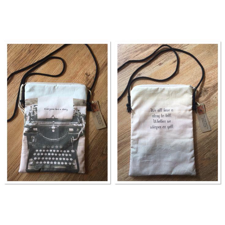 Everyone has a story. Runaround crossover bag. Fully lined, phone pocket, zip closure.