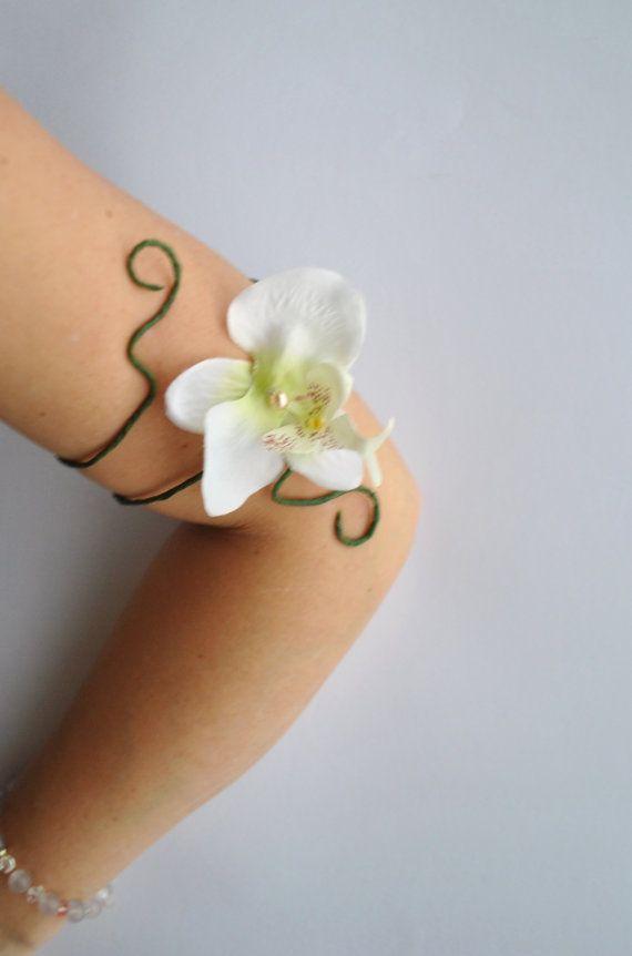 Orchid flower upper arm cuff adjustable armlet white flower girl wedding festival jewelry