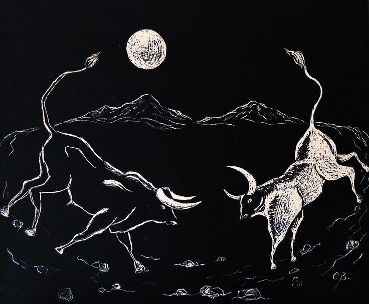 Toro blanco y toro negro, tallografía, 40,5 x 47 cms. @copyright Carolina Busquets.