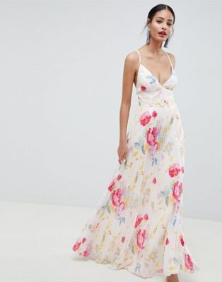 31000be7a9 DESIGN Pleated Maxi Dress In Rose Floral Print in 2019