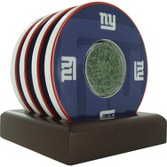 NYG Coaster Filled Coin With Game Used Turf from Final Season at Giants Stadium