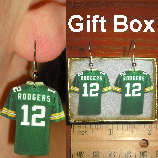 Aaron Rodgers 12 Green Bay Packers Football Jersey Earrings. Only for Jell they would need to be Clay matthews or Jordy Nelsons jersey. Janna gets #12!