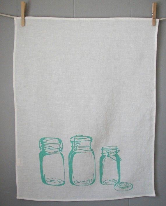 Mason Jars Tea TowelOrganic Linen Hand Screen by madderroot, $18.00