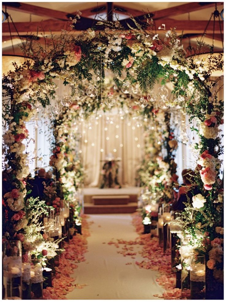 Jackie and Flavio's Wedding, The Resort at Pelican Hill in Newport Coast | Details Details - Wedding and Event Planning, indoor candle-lit ceremony, lush garden inspired wedding, sweet and romantic, lush floral arbors, floating candles wedding, hanging orbs. Arches // Aisle Perfect