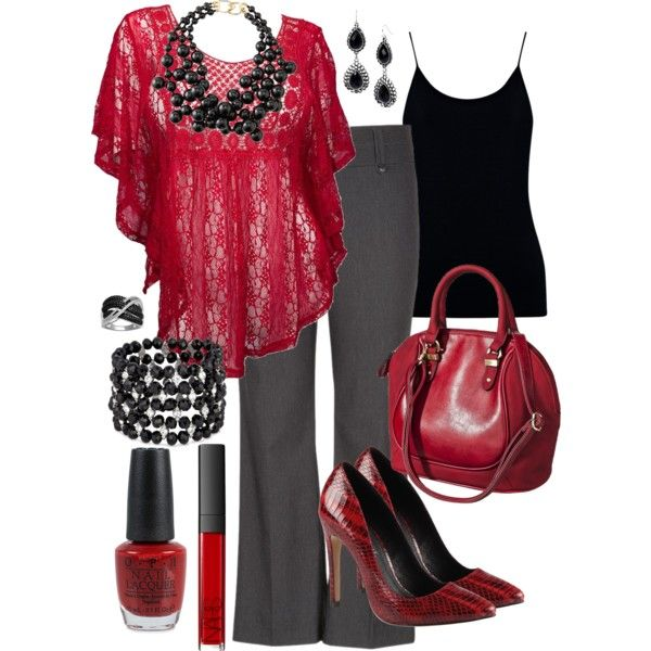 I love it!!!! The flowy top, the wine color with the gray pant. I just do not care for the shoes or jewlery