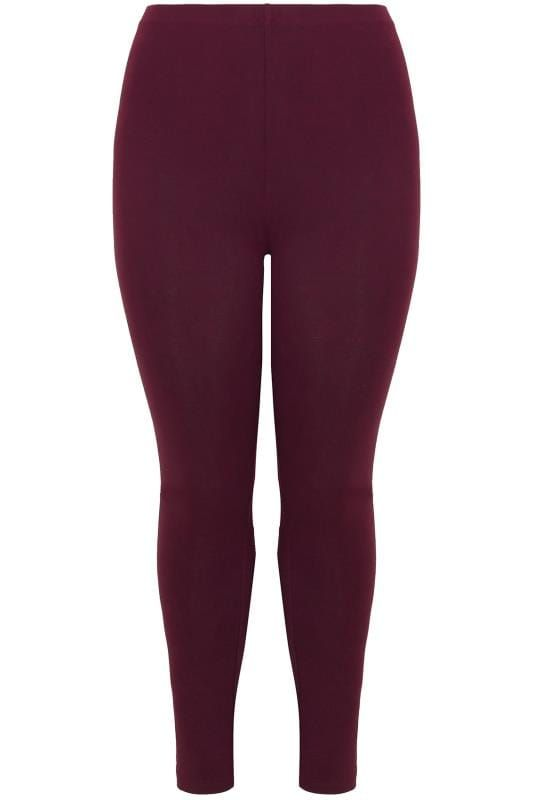5bc3f0b3707 Shop Burgundy Soft Touch Leggings at Yours Clothing. Discover plus size  fashion in size 16