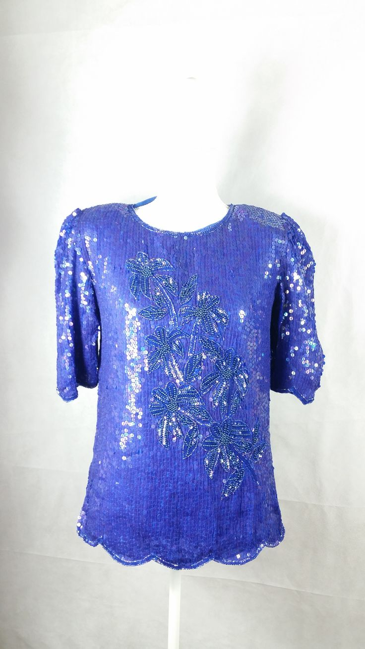 Vintage Royal Blue Purple Sequin Beaded Silk Blouse