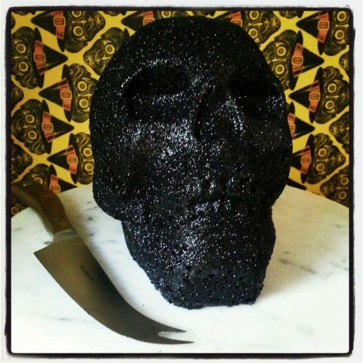 Black Velvet Skull Cake
