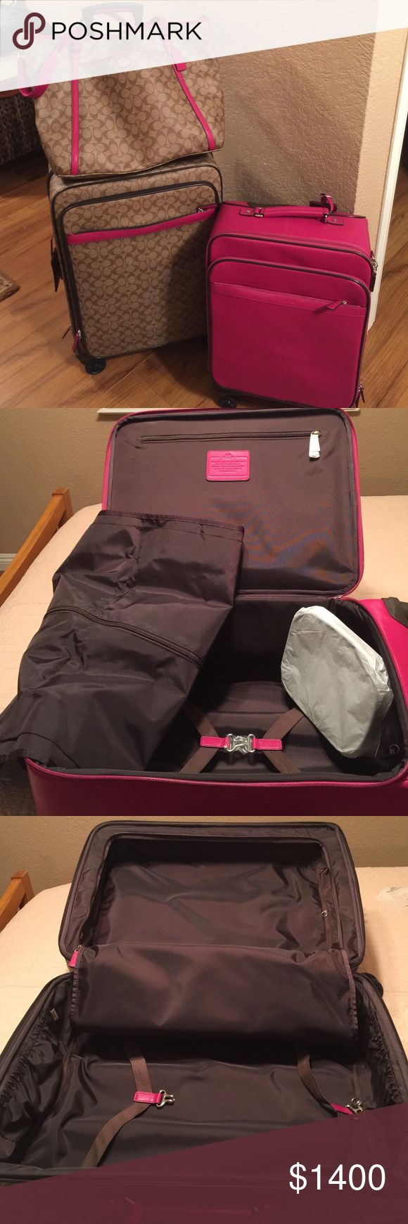 Coach luggage set Brand new  3 piece coach luggage set Brown with hot pink trim Coach Bags Travel Bags