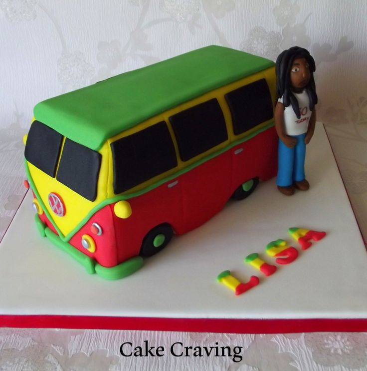 Reggae style camper van cake with Bob Marley icing figure