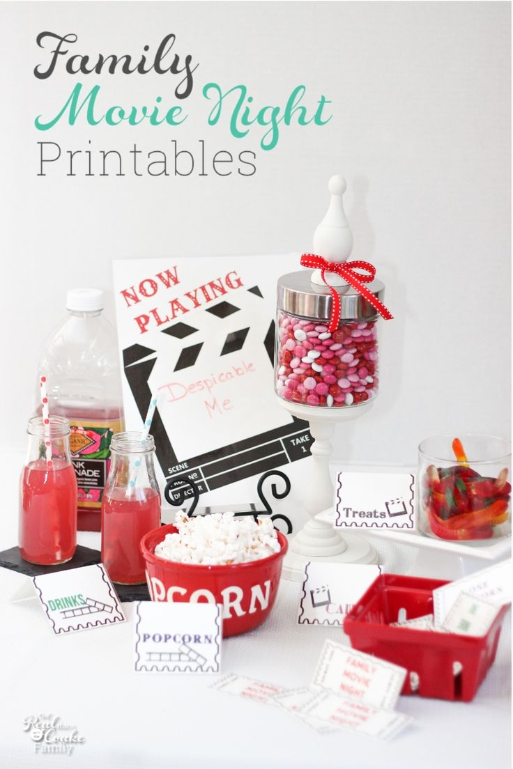 Have some family fun! These Movie night family fun printables make for a cute and fun night together. Perfect weekend family fun. #MovieNight #FamilyFun #Printable #RealCoake