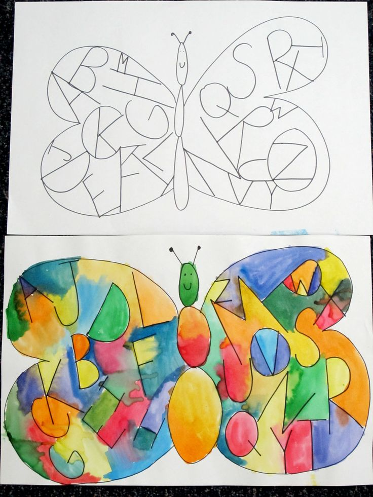 Spring Idea: Guided drawing. Inside the butterfly wings write the alphabet. Go back with watercolor to brighten it up. The kids loved it! (Image only)