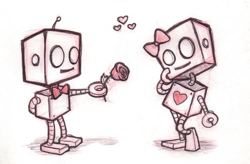 I love this drawing of robot love.