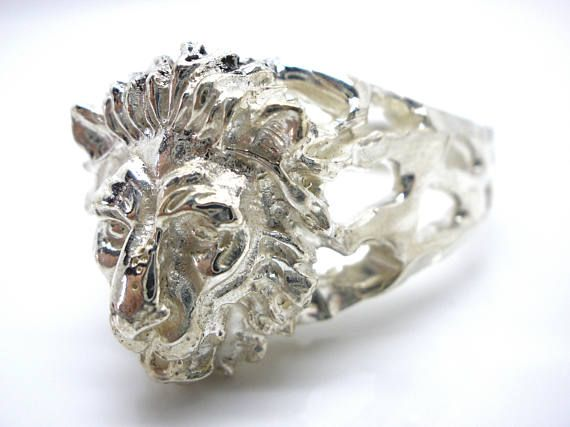 Handmade Lion Men's Silver Ring, Ooak Men's Leo Sign Ring, Men's Zodiac Ring, Men's Statement Ring, Etsy Gifts, Gift For Him