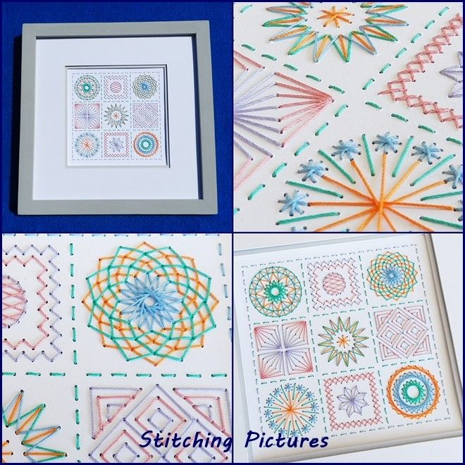 Try a Stitching Pictures embroidery on card prick and stitch paper pricking pattern before you buy with my free instant download square sampler pattern from https://payhip.com/b/gwae